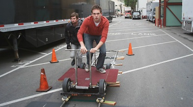 Patrick J. Adams rides the dolly